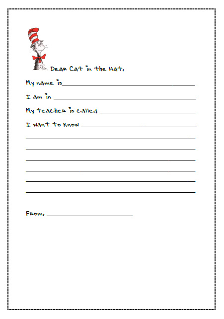 Letter Writing with Dr Seuss – Blank Writing Template