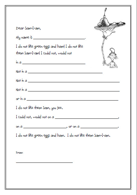 Fill In The Blank Doctors Notes Even more dr seuss letters