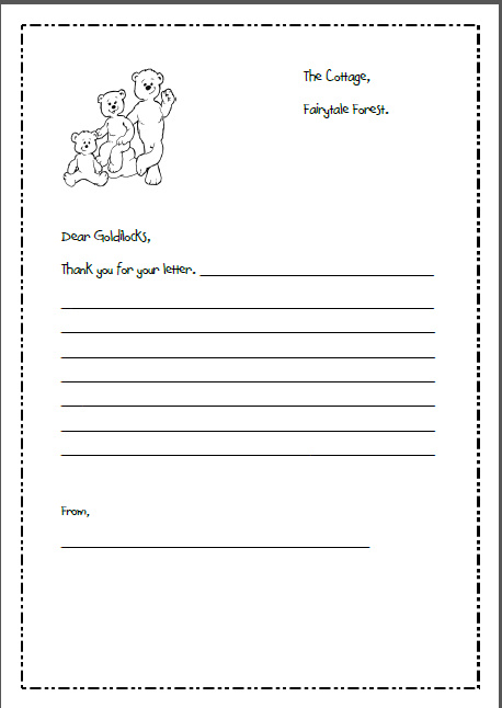 letter writing template for goldilocks and the 3 bears