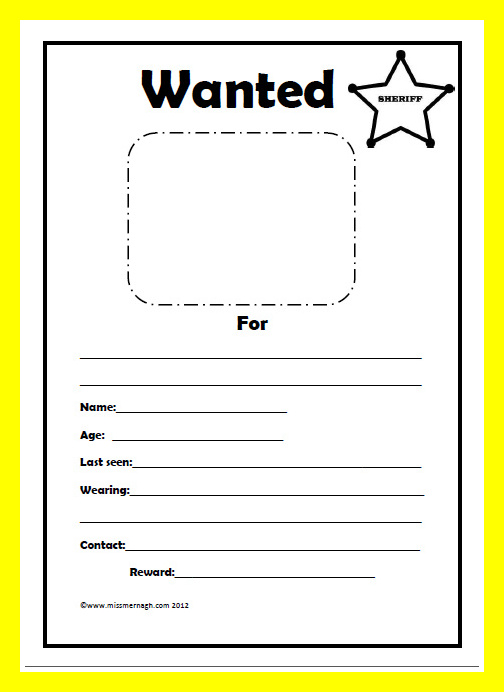 Click Here To Download  Printable Wanted Poster Template